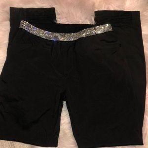 Rhinestone pants straight leg black diamond waist